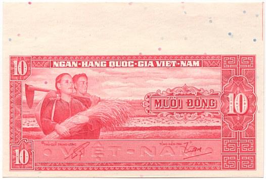 SOUTH VIETNAM 1962 Banknote 10 Dong Farmer /& Temple P5 AU-UNC 50A-002029 SVN53